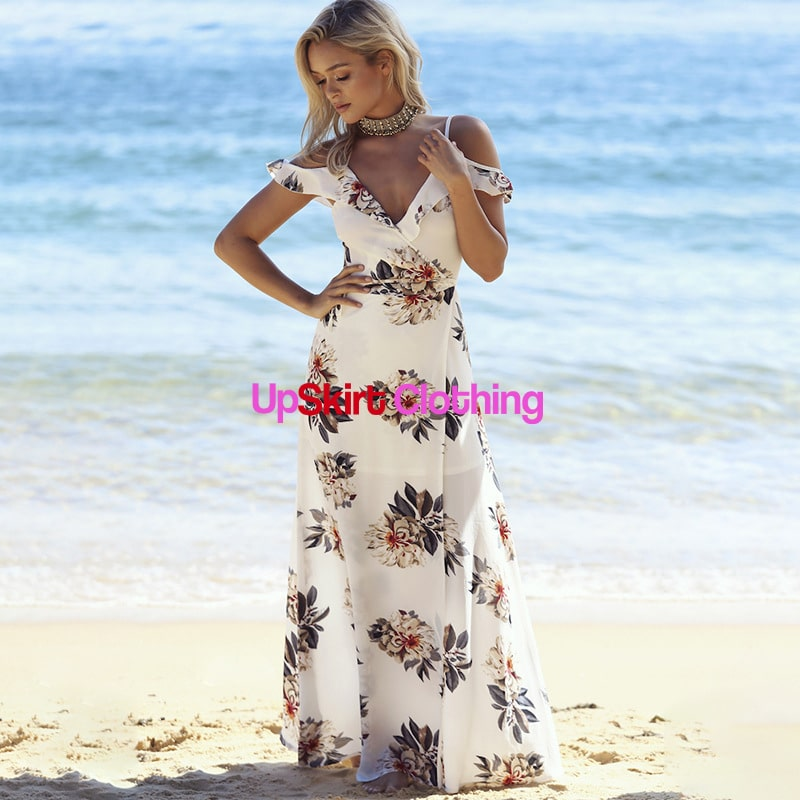 5139873ee8 Floral Printed Ruffled Long Dress | Upskirt Clothing